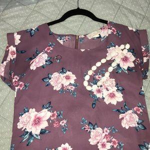 Purple dolman floral back zipper blouse